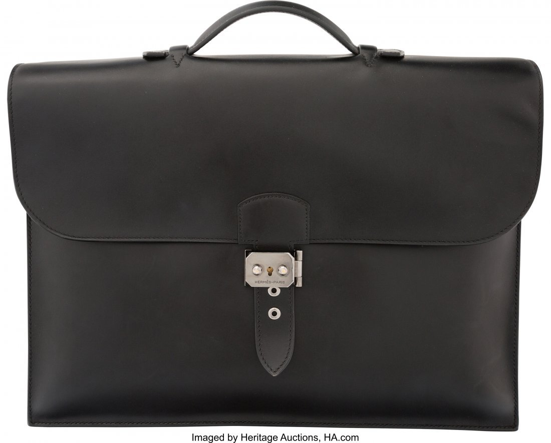 58208: Hermes 38cm Black Calf Box Leather Double Gusset