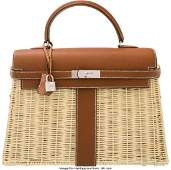 Hermes Limited Edition 35cm Barenia Leather & Os