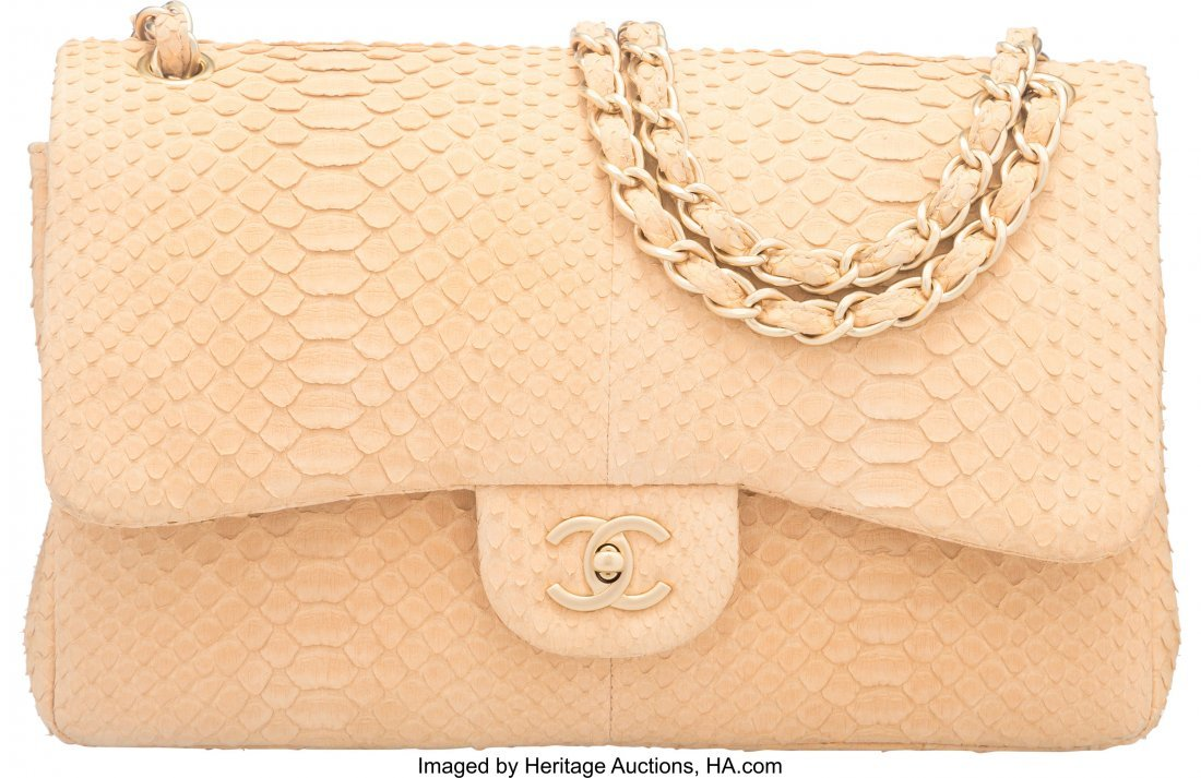 58039: Chanel Beige Sueded Python Jumbo Double Flap Bag