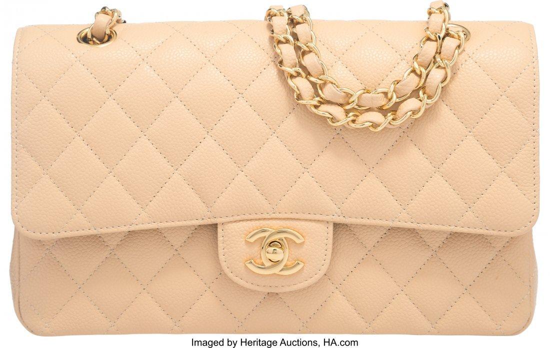 58040: Chanel Beige Clair Caviar Leather Medium Double