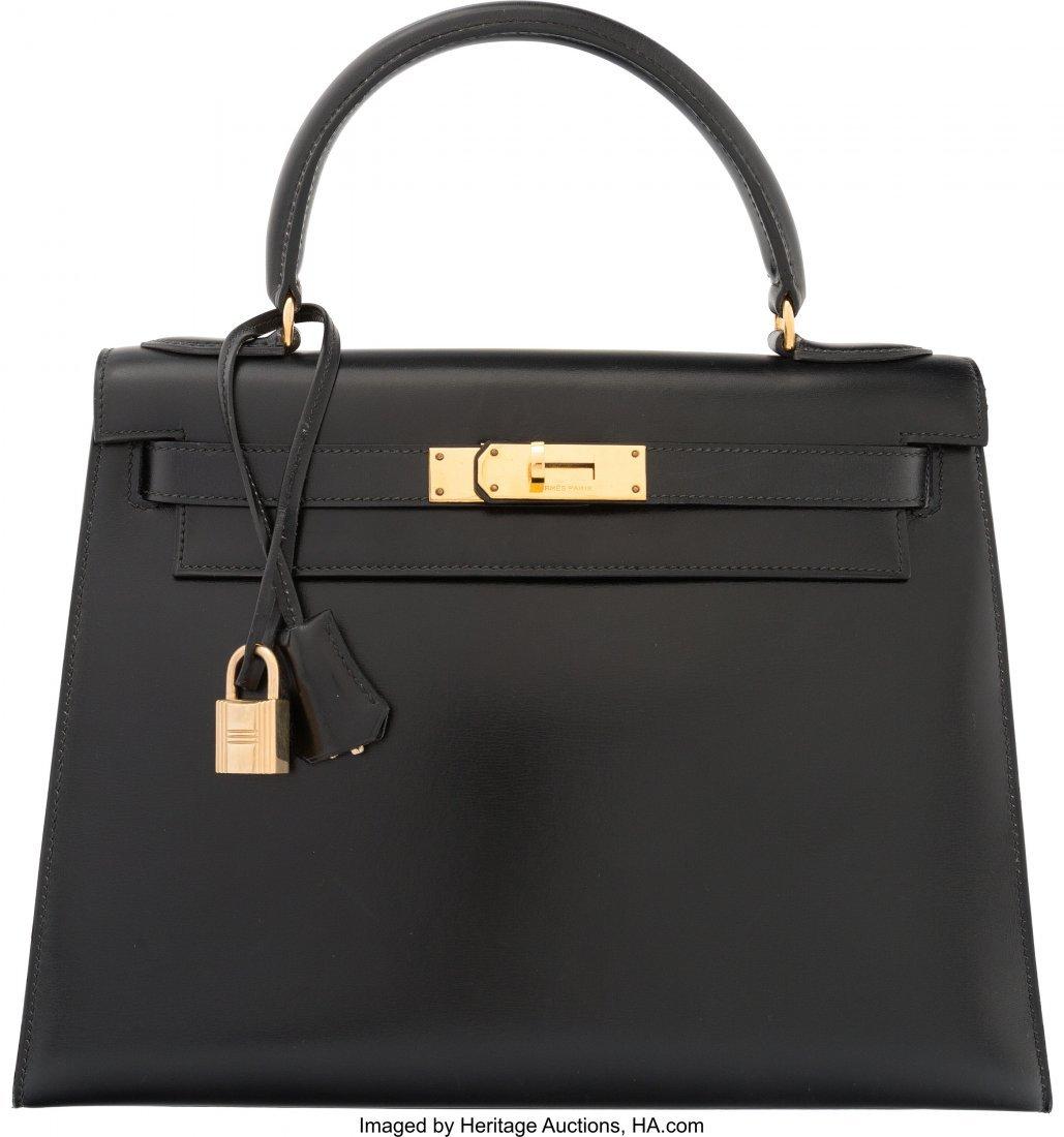58212: Hermes 28cm Black Calf Box Leather Sellier Kelly