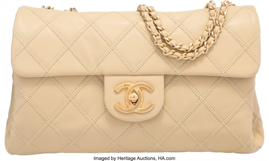58041: Chanel Beige Quilted Lambskin Small Flap Bag wit