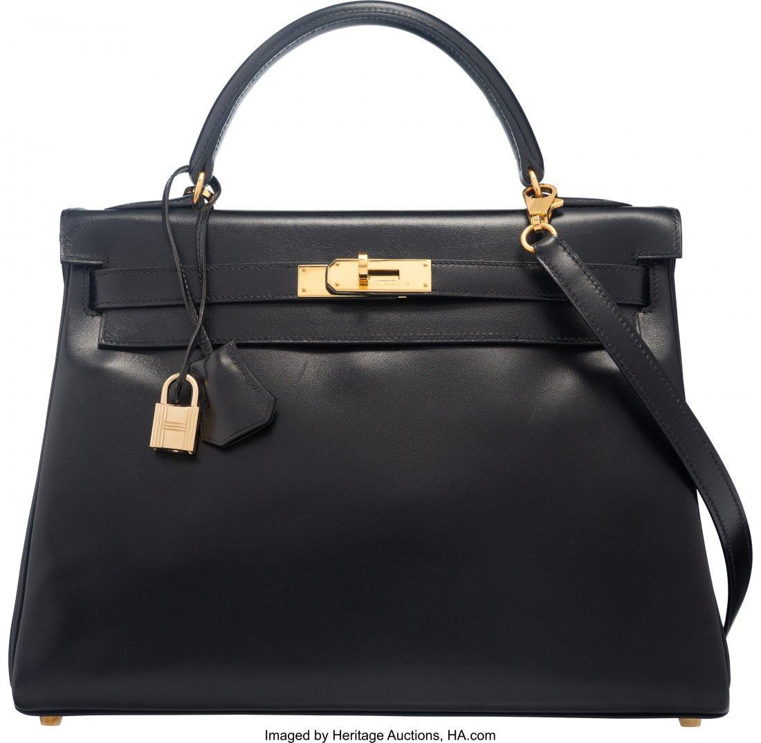 58213: Hermes 32cm Black Box Calf Leather Retourne Kell