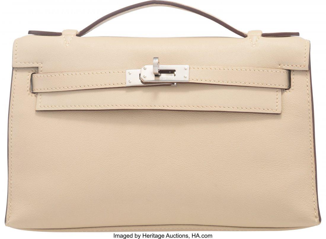 58158: Hermes Parchemin Swift Leather Kelly Pochette Ba