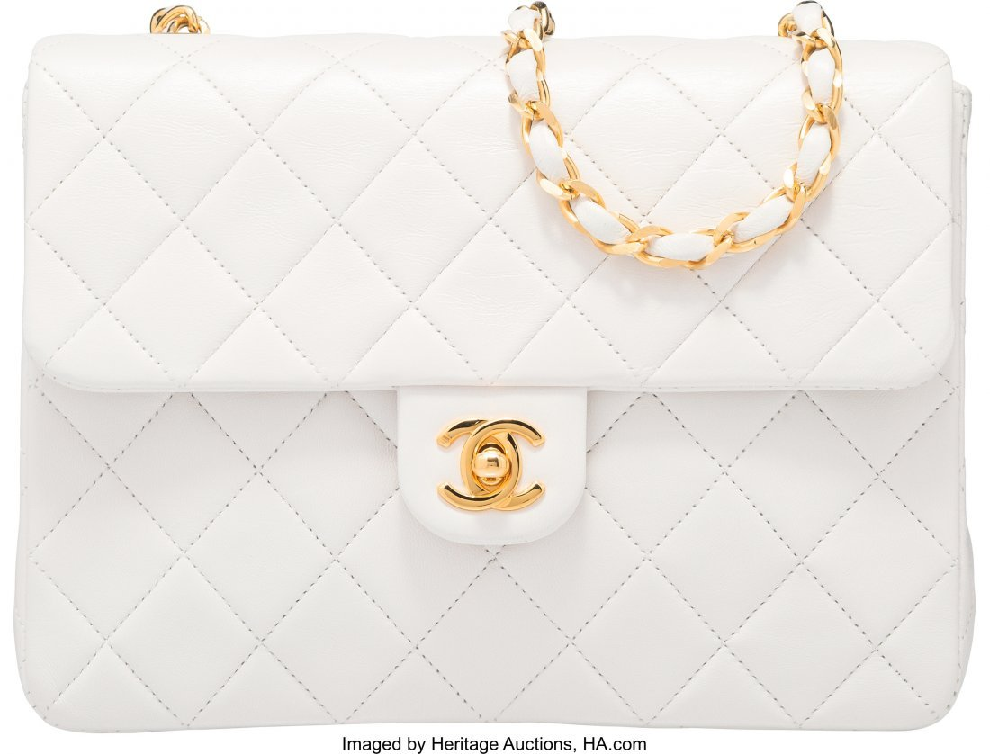 58045: Chanel White Lambskin Leather Small Single Flap