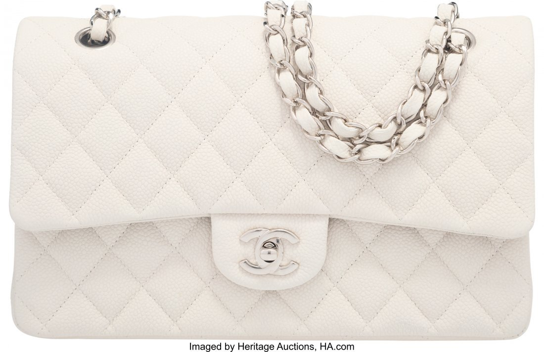 58046: Chanel White Caviar Leather Medium Double Flap B