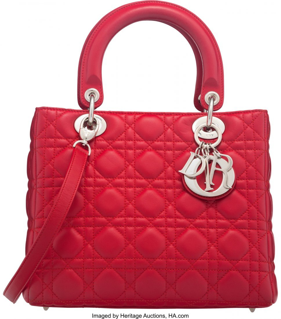 58051: Christian Dior Red Cannage Quilted Lambskin Leat