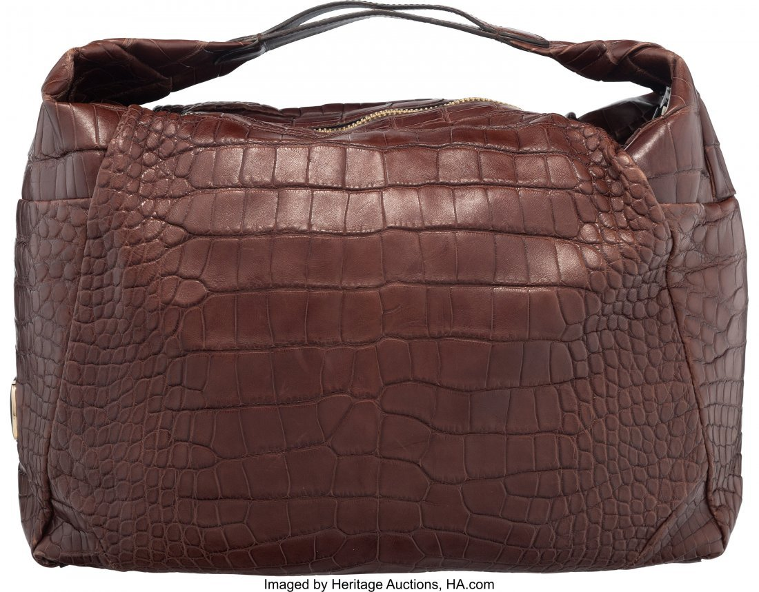 58052: Jimmy Choo Brown Crocodile Hobo Bag Condition: 4