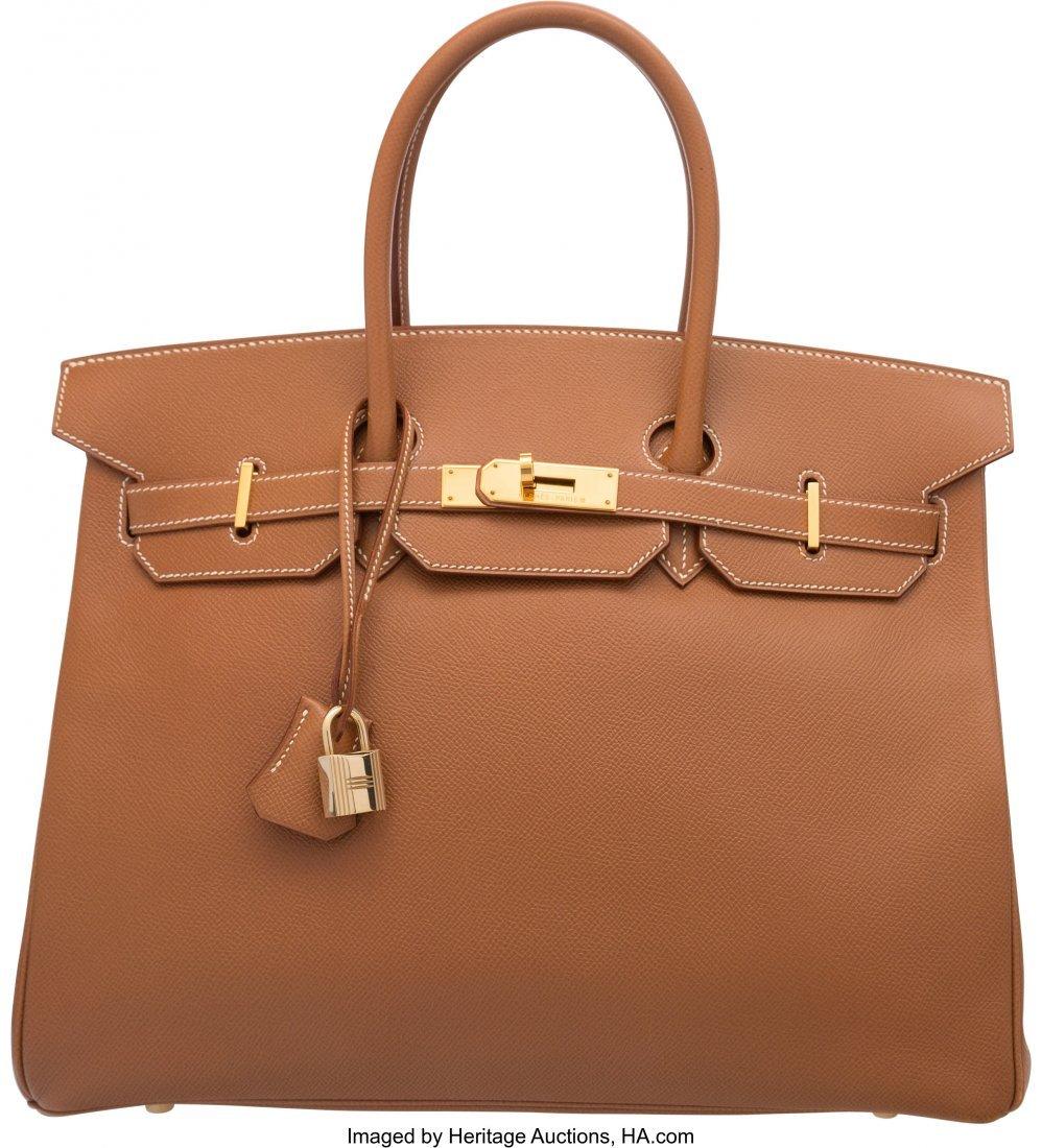 58164: Hermes 35cm Gold Courchevel Leather Birkin Bag w