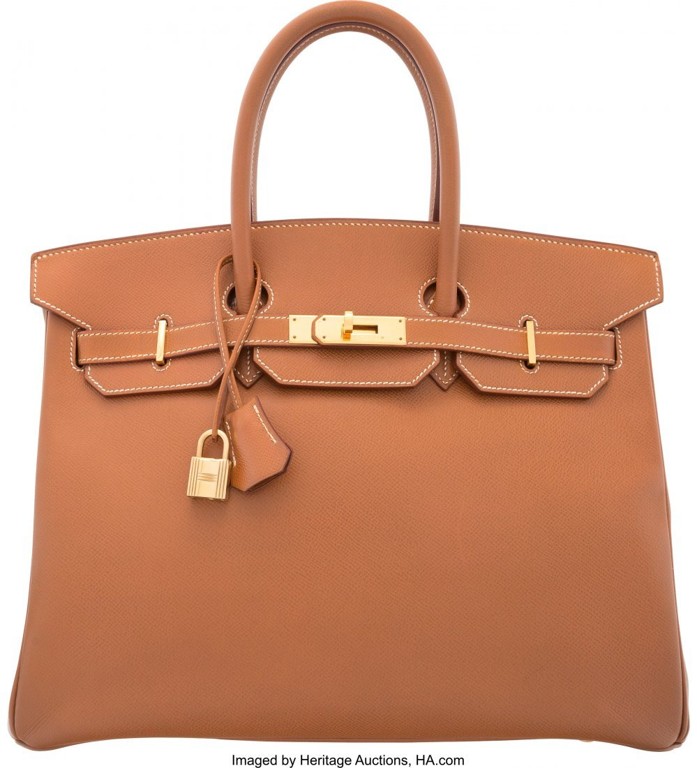 58166: Hermes 35cm Gold Courchevel Leather Birkin Bag w