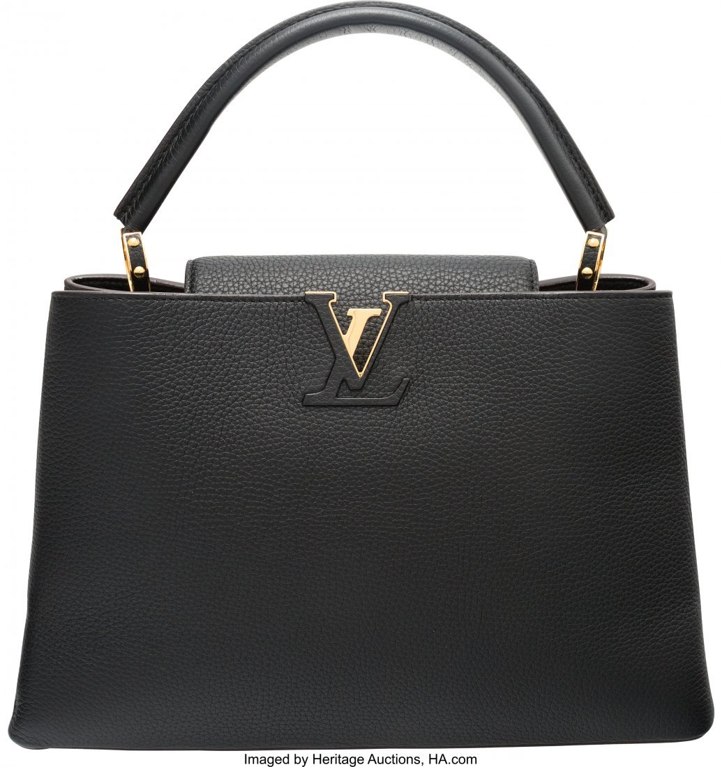 58056: Louis Vuitton Black Taurillon Leather Capucines