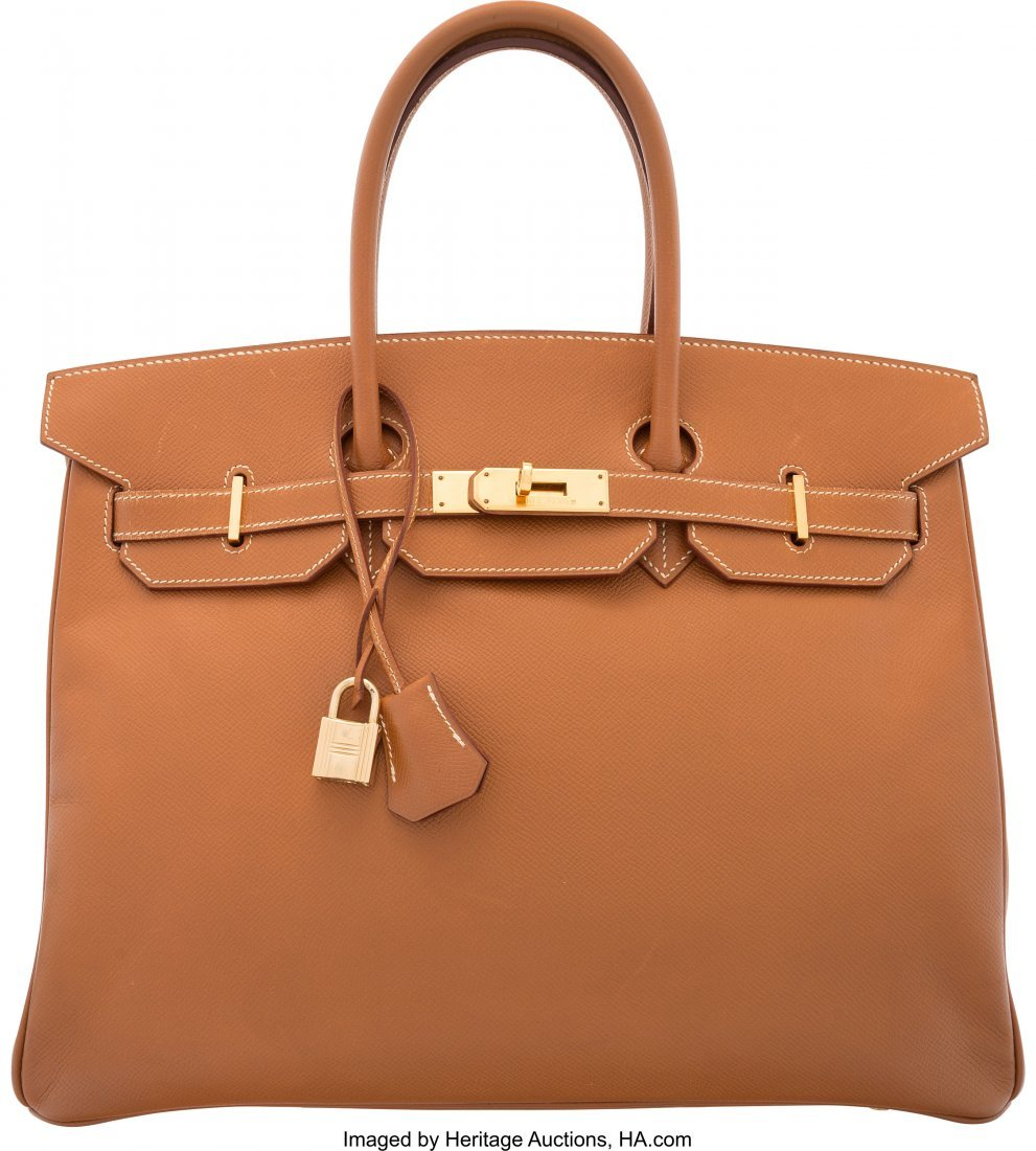 58167: Hermes 35cm Gold Courchevel Leather Birkin Bag w