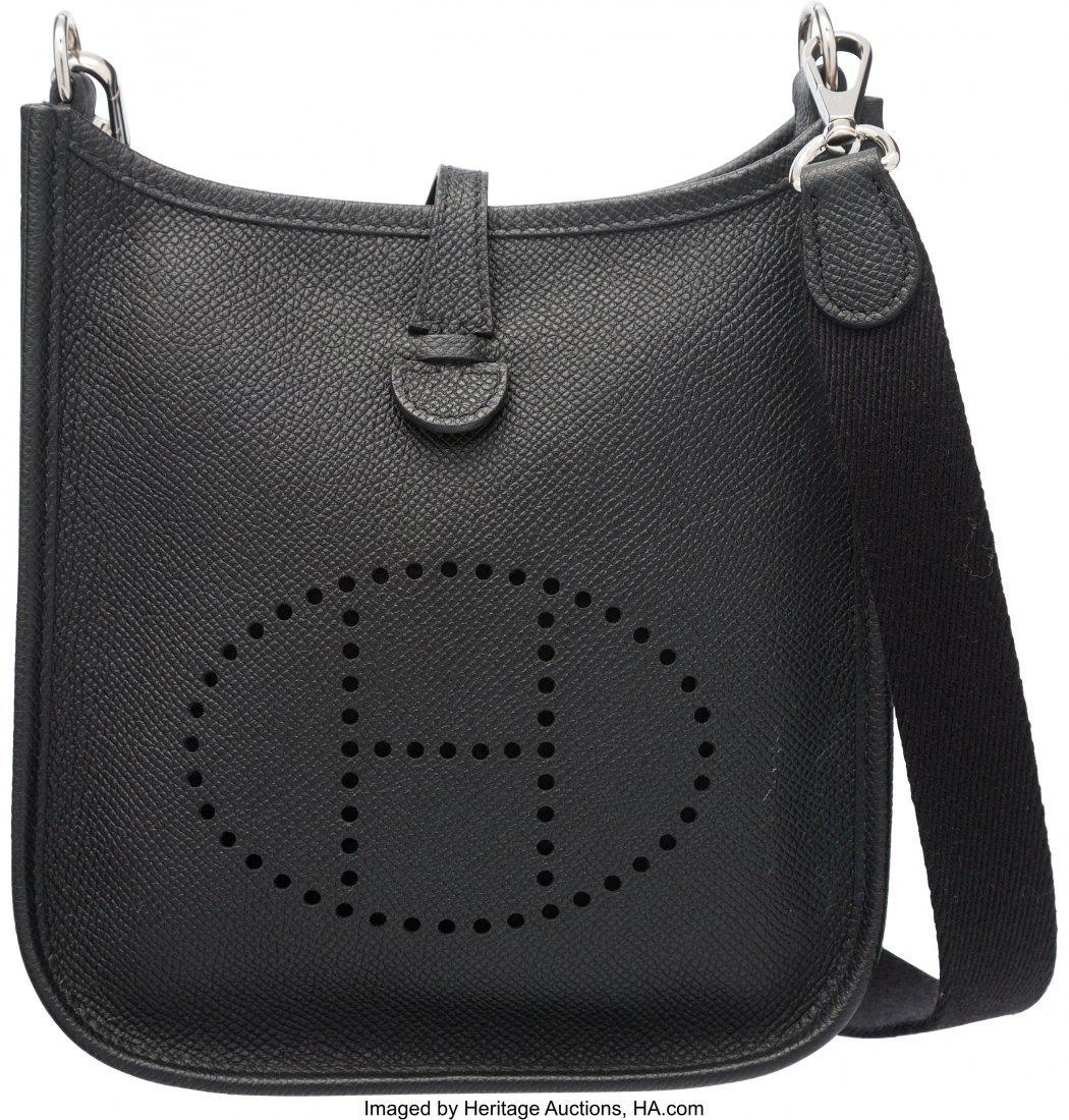 58203: Hermes Black Epsom Leather Evelyne TPM Bag with