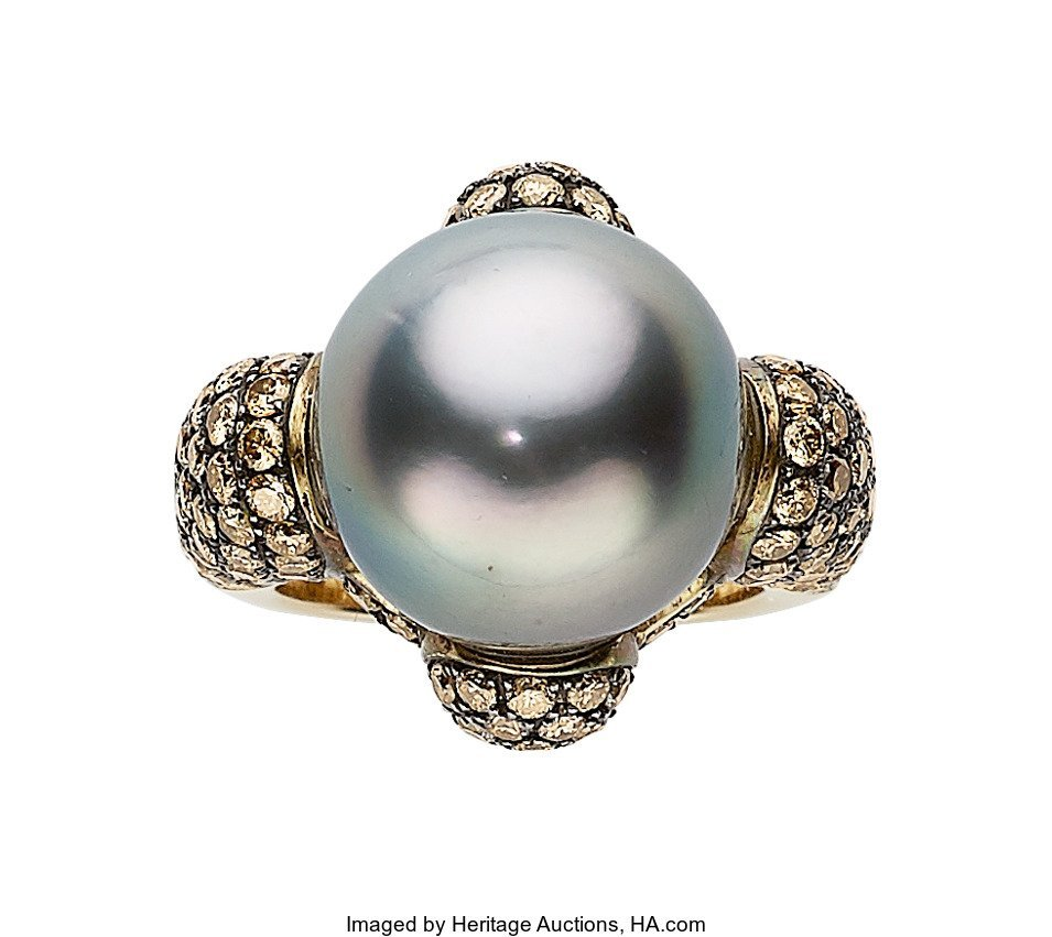 55180: South Sea Cultured Pearl, Colored Diamond, Gold