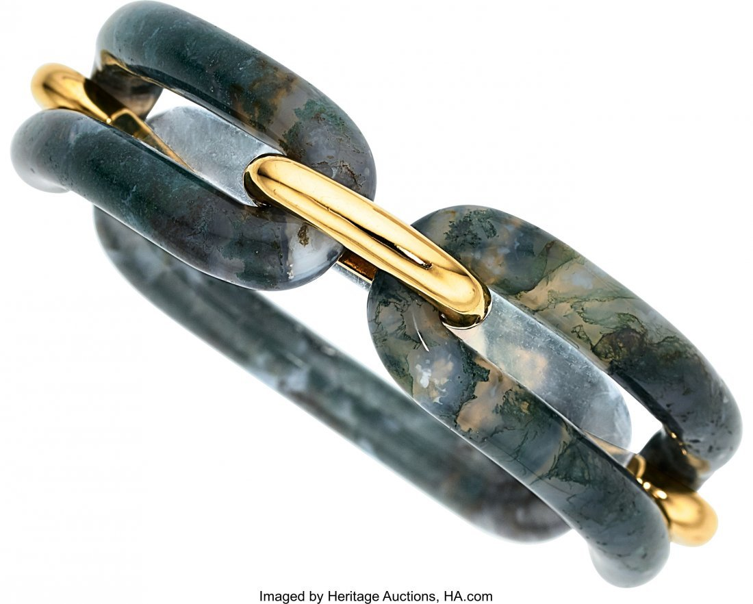 55094: Moss Agate, Gold Bracelet  The bracelet is compo