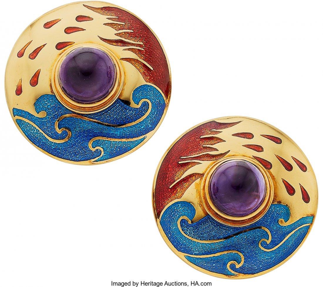 55096: Amethyst, Enamel, Gold Earrings, Cellini  The ea