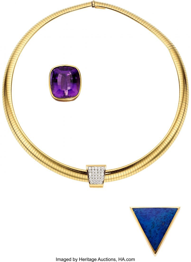 55006: Diamond, Multi-Stone, Gold Necklace, Barbara Wes