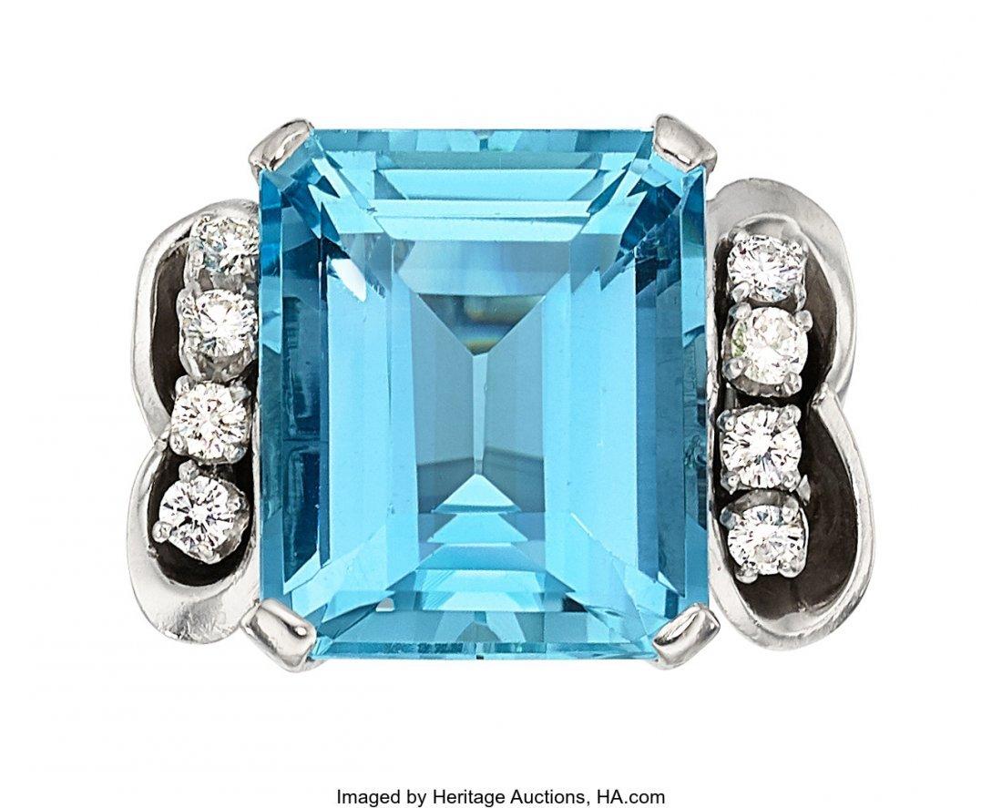 55186: Aquamarine, Diamond, Platinum Ring  The ring fea