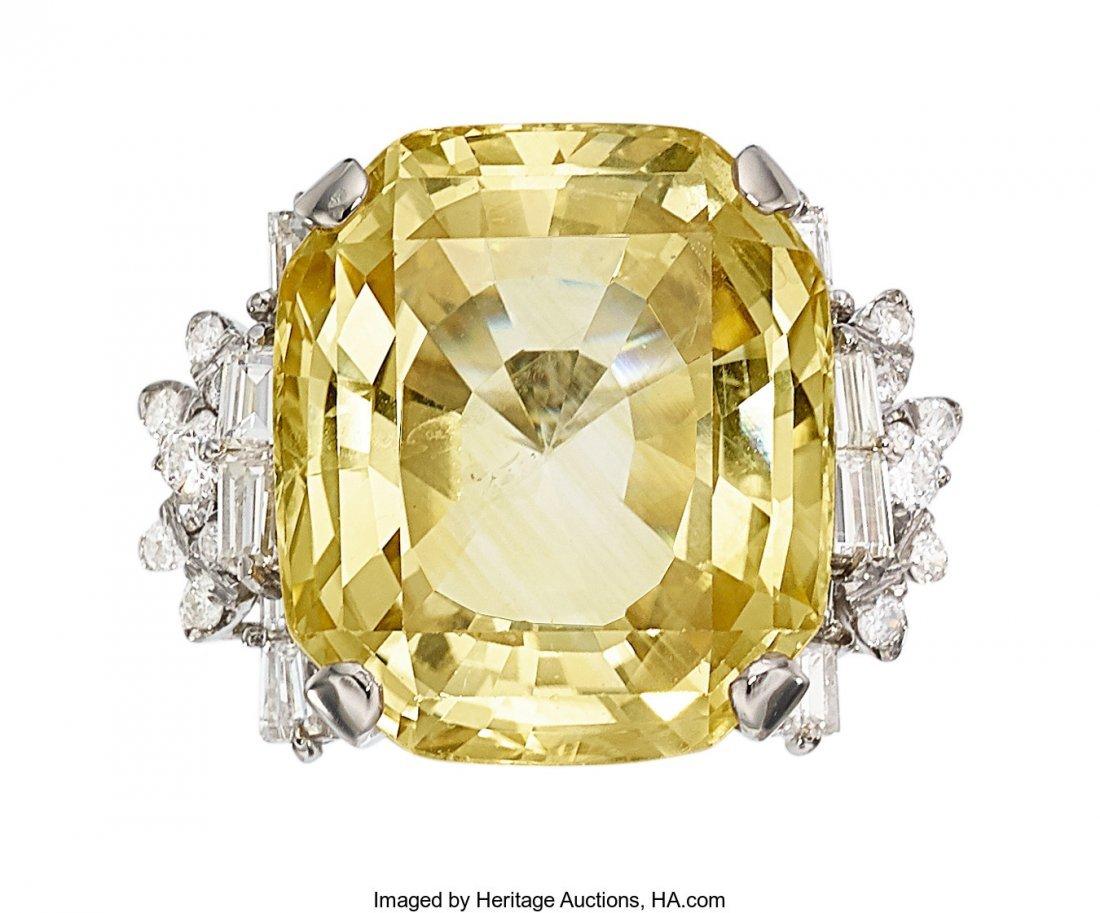 55279: Ceylon Yellow Sapphire, Diamond, Platinum Ring