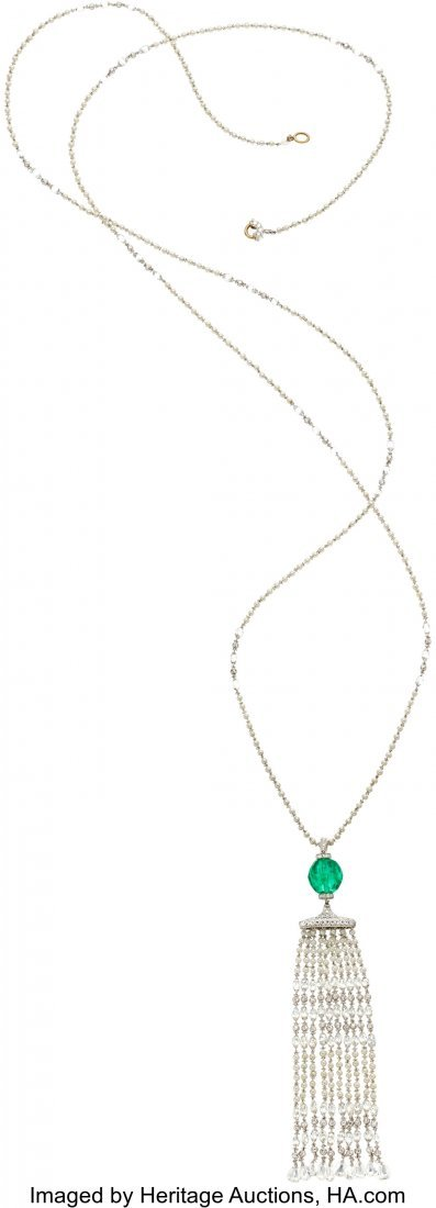 55200: Diamond, Emerald, Seed Pearl, Platinum Pendant-N