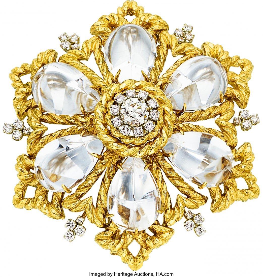 55021: Diamond, Quartz, Gold Pendant-Brooch, David Webb
