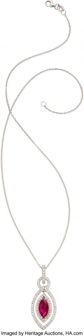 55114: Burma Ruby, Diamond, White Gold Pendant-Necklace