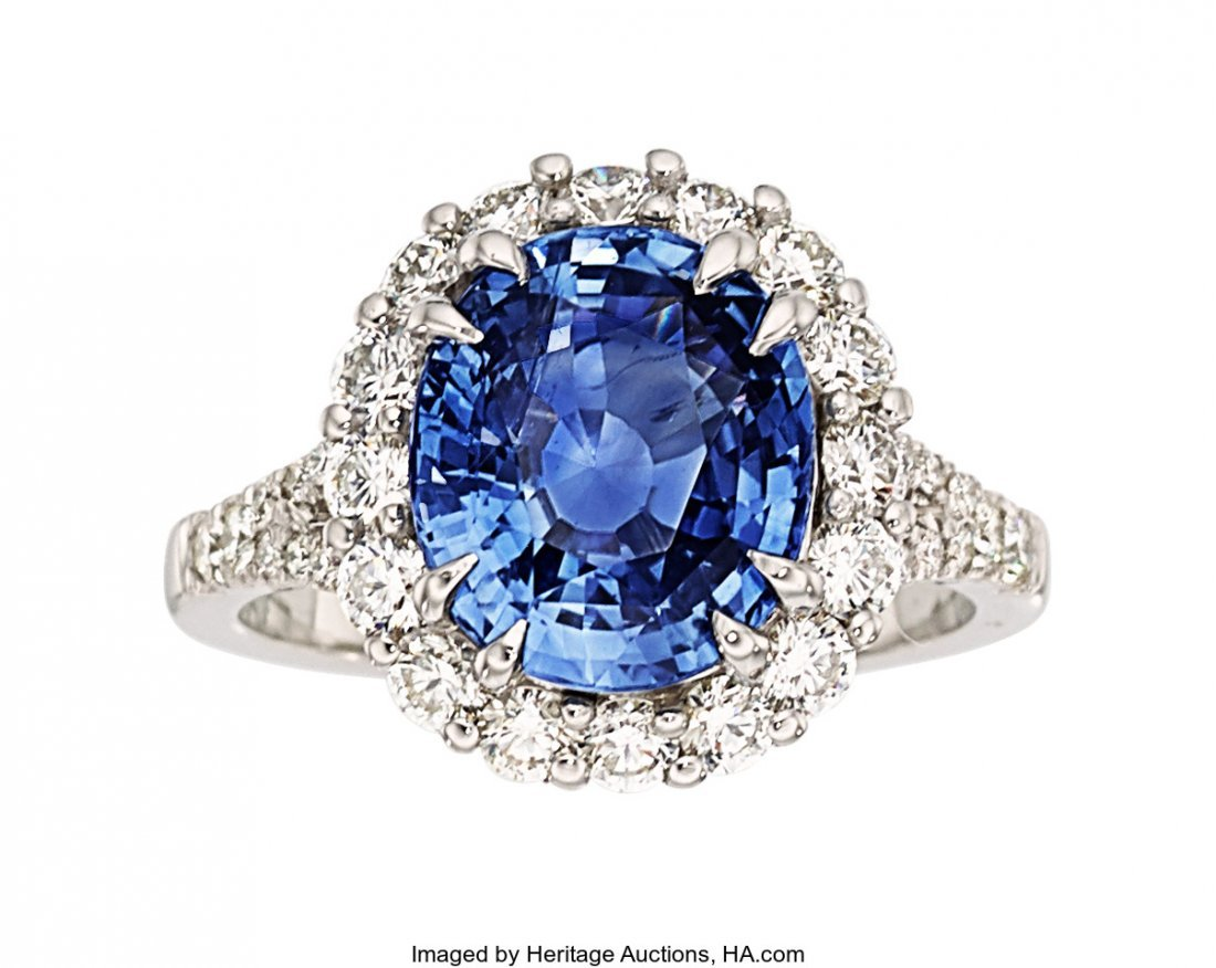 55287: Ceylon Sapphire, Diamond, Platinum Ring  The rin