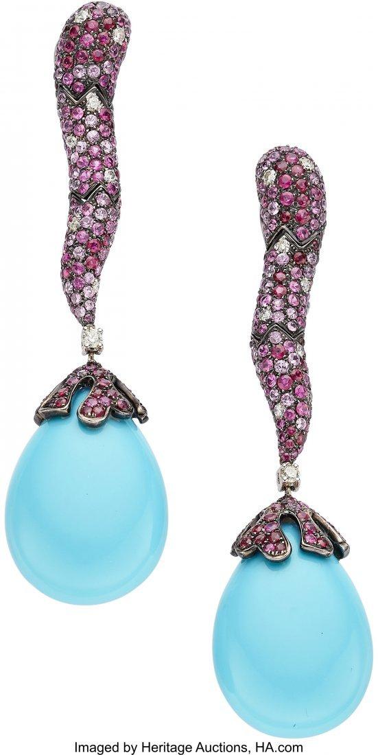 55118: Multi-Stone, Diamond, Gold Earrings   The earrin