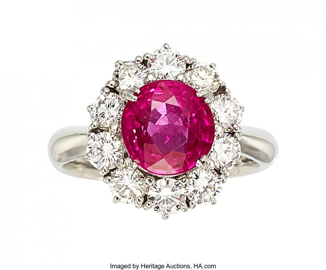 55290: Burma Ruby, Diamond, Platinum Ring   The ring fe
