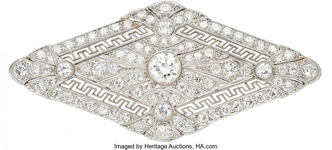 55207: Art Deco Diamond, Platinum Brooch  The brooch fe