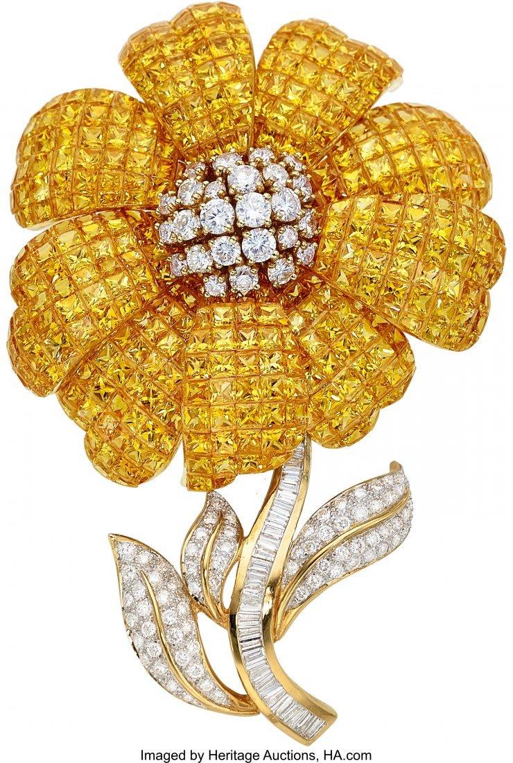 55295: Diamond, Yellow Sapphire, Gold Brooch  The flowe