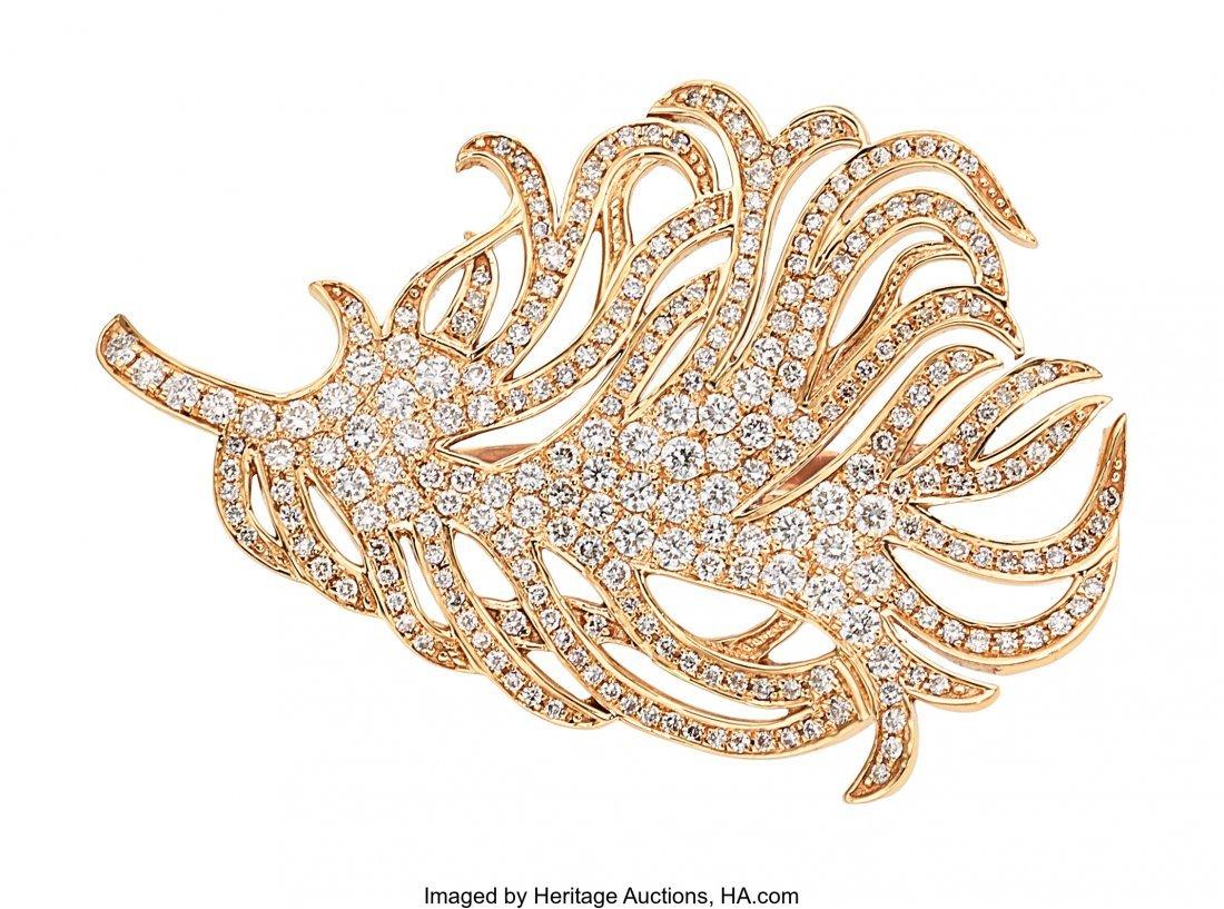 55032: Diamond, Rose Gold Ring, SAM.SAAB  The feather r