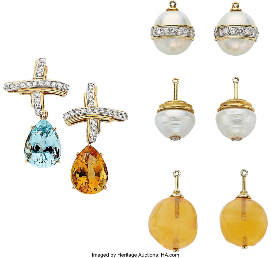 55122: Diamond, Multi-Stone, Cultured Pearl, Platinum,