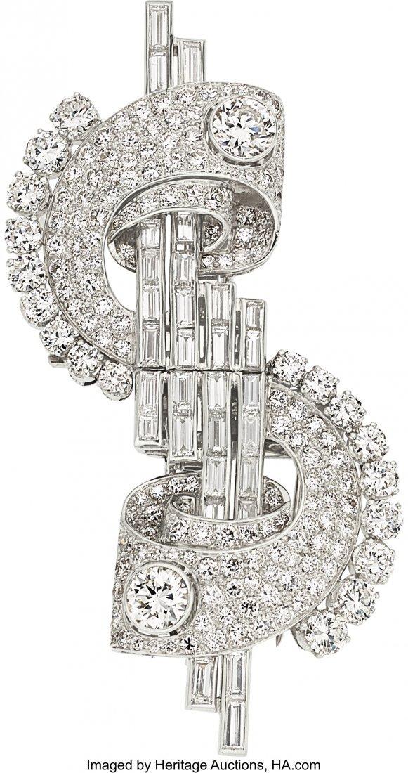 55212: Diamond, Platinum, White Gold Double-Clip-Brooch