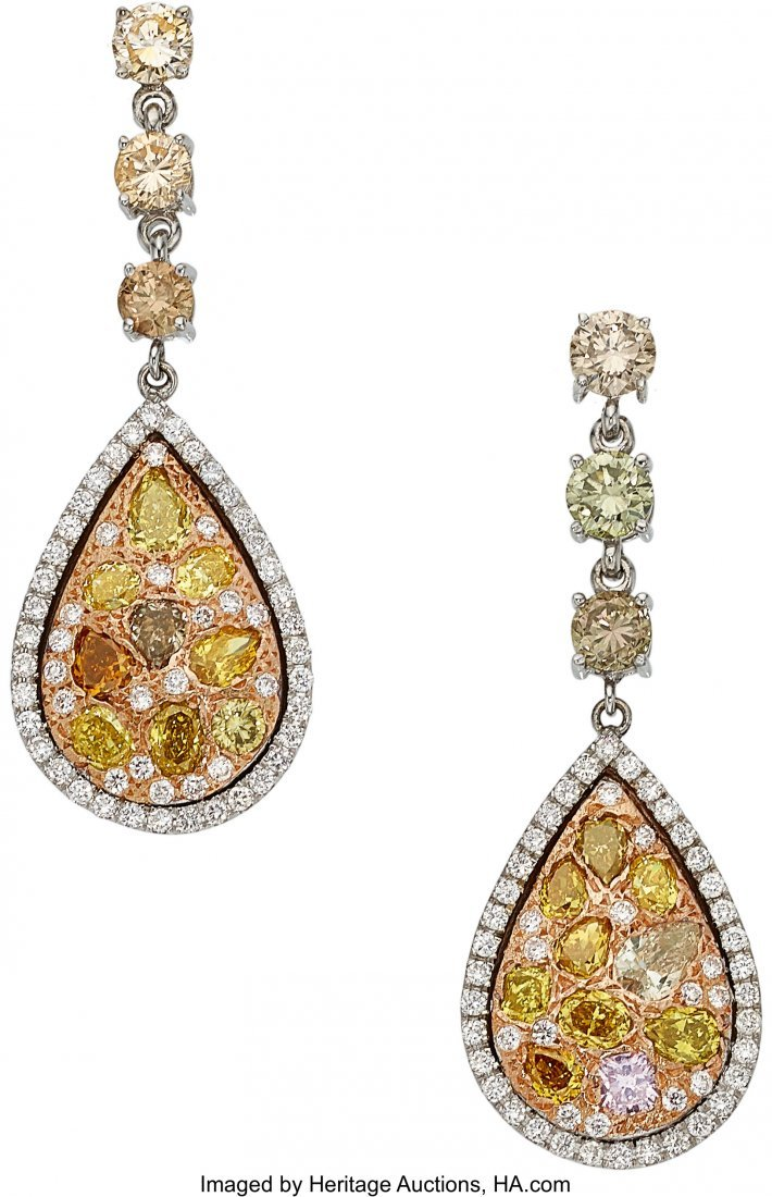 55038: Colored Diamond, Diamond, Gold Earrings  The ear