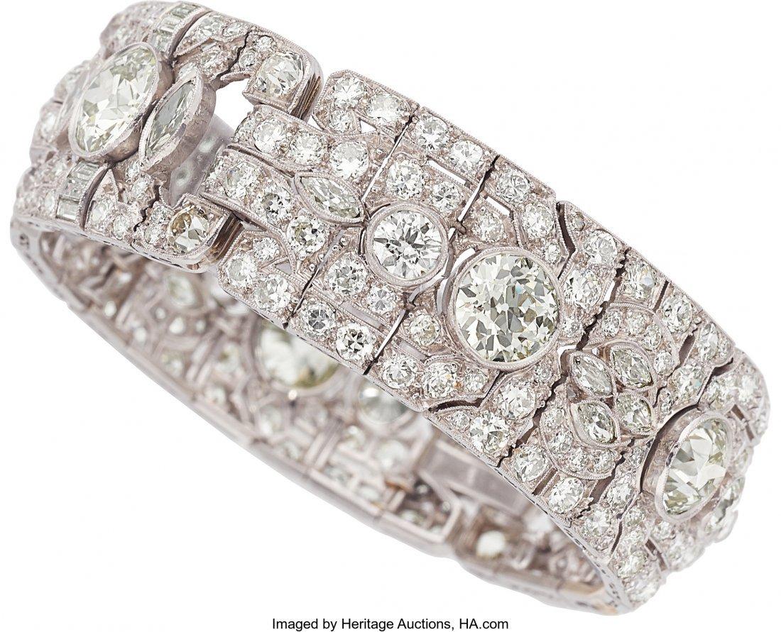 55214: Art Deco Diamond, Platinum Bracelet  The bracele