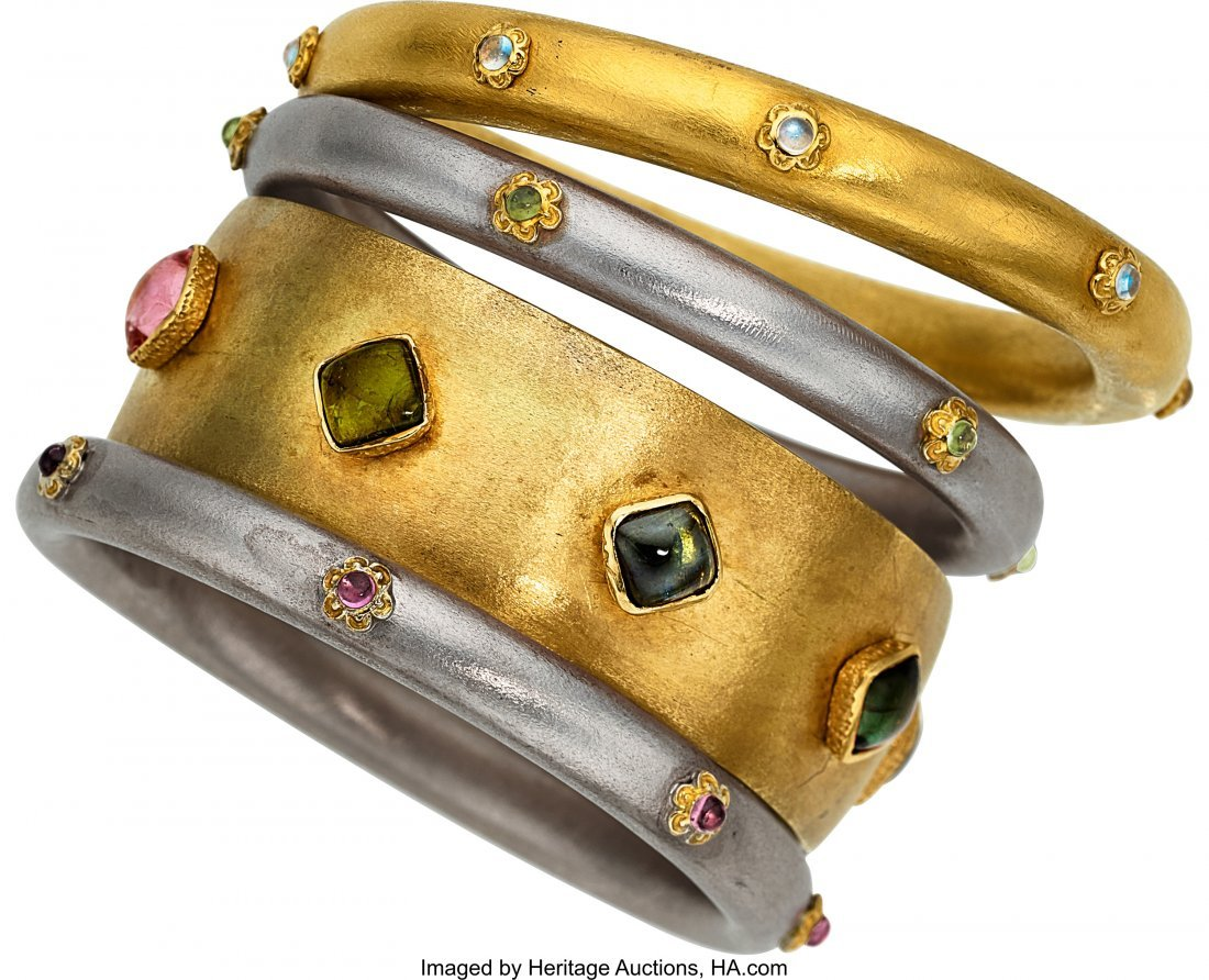 55040: Multi-Stone, Gold, Sterling Silver Bracelets  Th