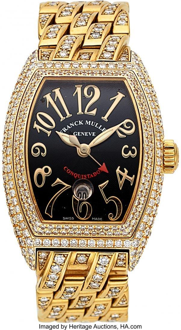 55128: Franck Muller Lady's Diamond, Gold Conquistador