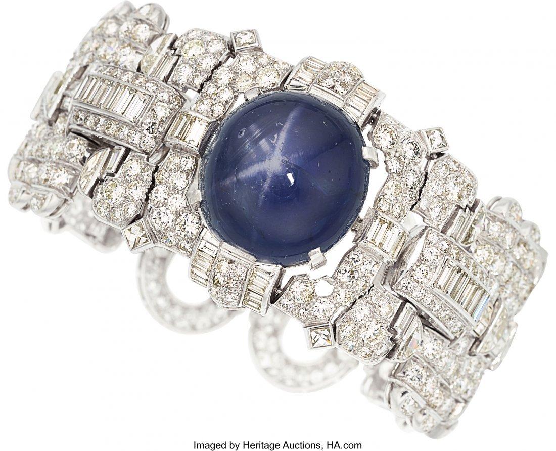 55218: Star Sapphire, Diamond, Platinum Bracelet  The b