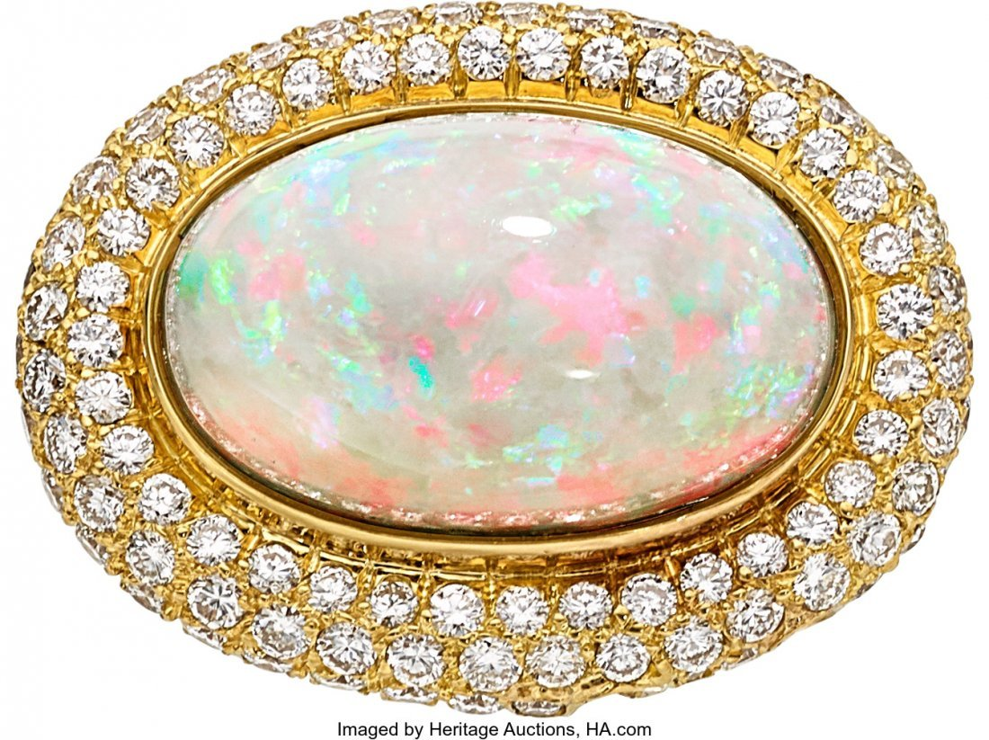 55043: Opal, Diamond, Gold Pendant-Brooch  The pendant-