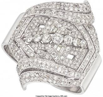 55223: Art Deco Diamond, Platinum, White Gold Bracelet,