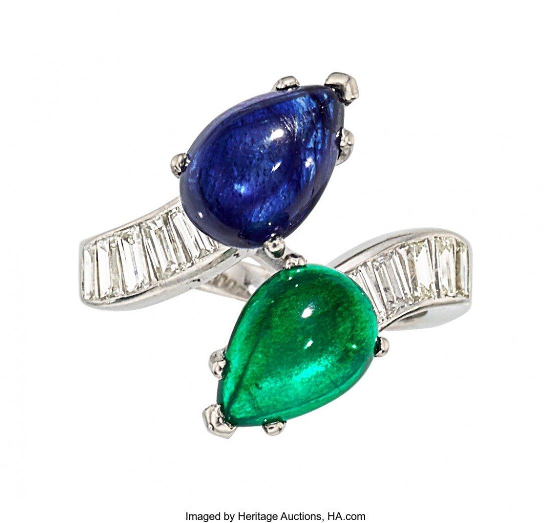 55313: Sapphire, Emerald, Diamond, Platinum Ring  The b