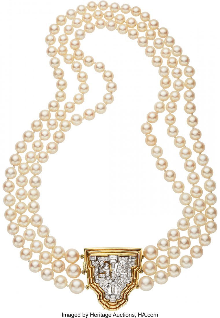55141: Diamond, Cultured Pearl, Platinum, Gold Necklace