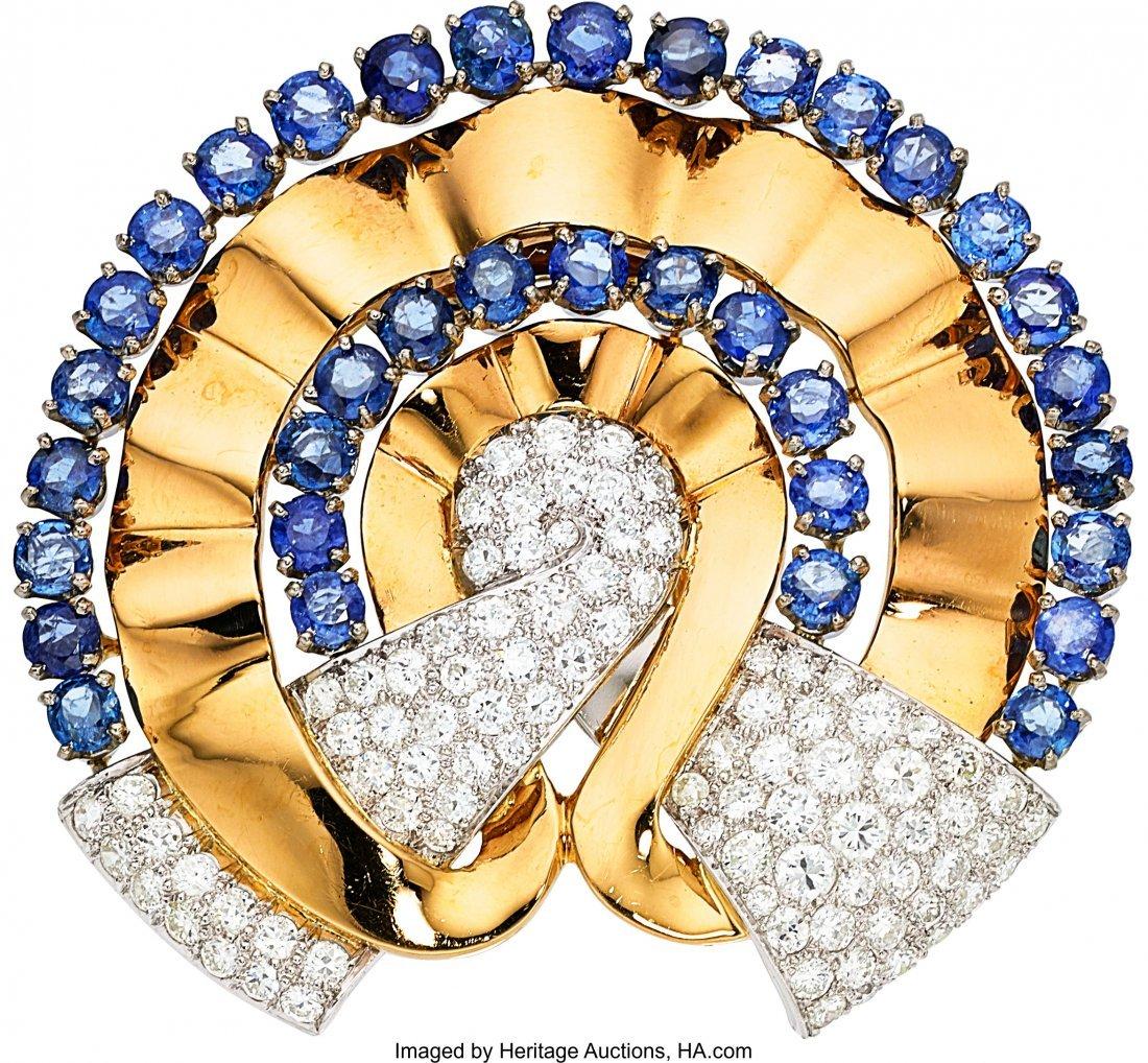 55224: Retro Diamond, Sapphire, Platinum, Gold Clip-Bro