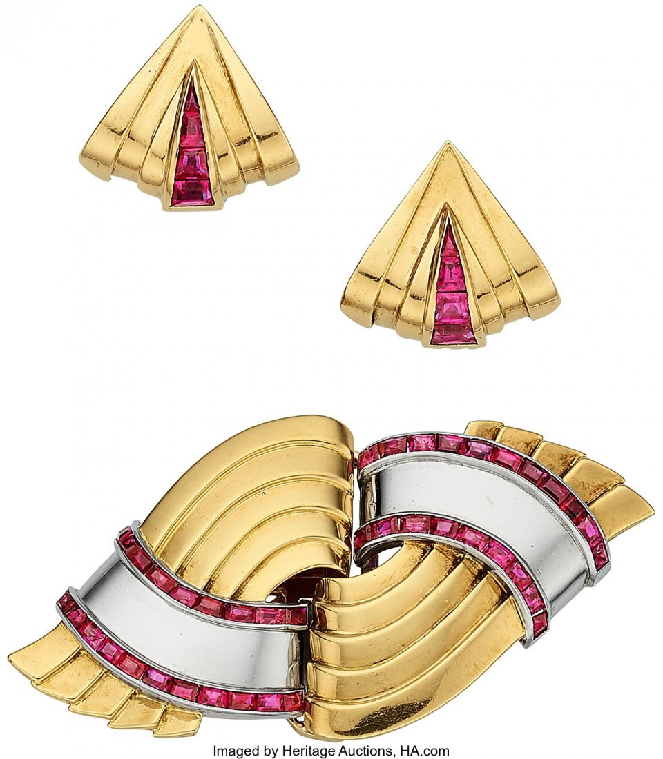 55225: Retro Ruby, Platinum-Topped Gold, Jewelry Suite,