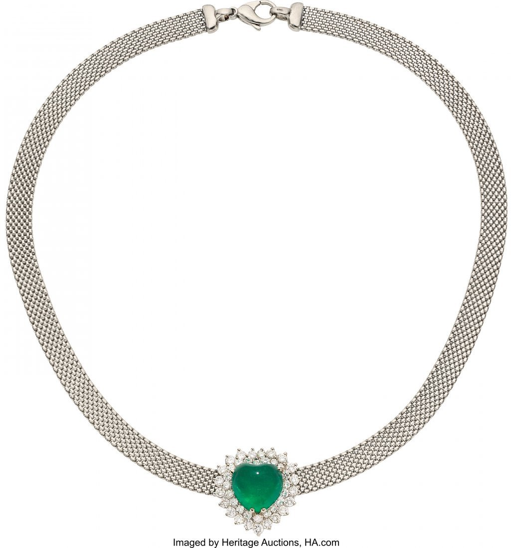 55143: Colombian Emerald, Diamond, Platinum, White Gold