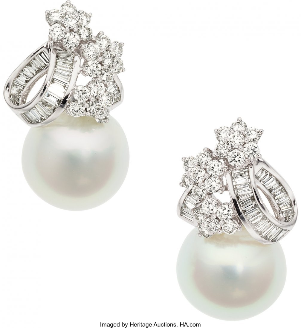 55144: Diamond, South Sea Cultured Pearl, White Gold Ea