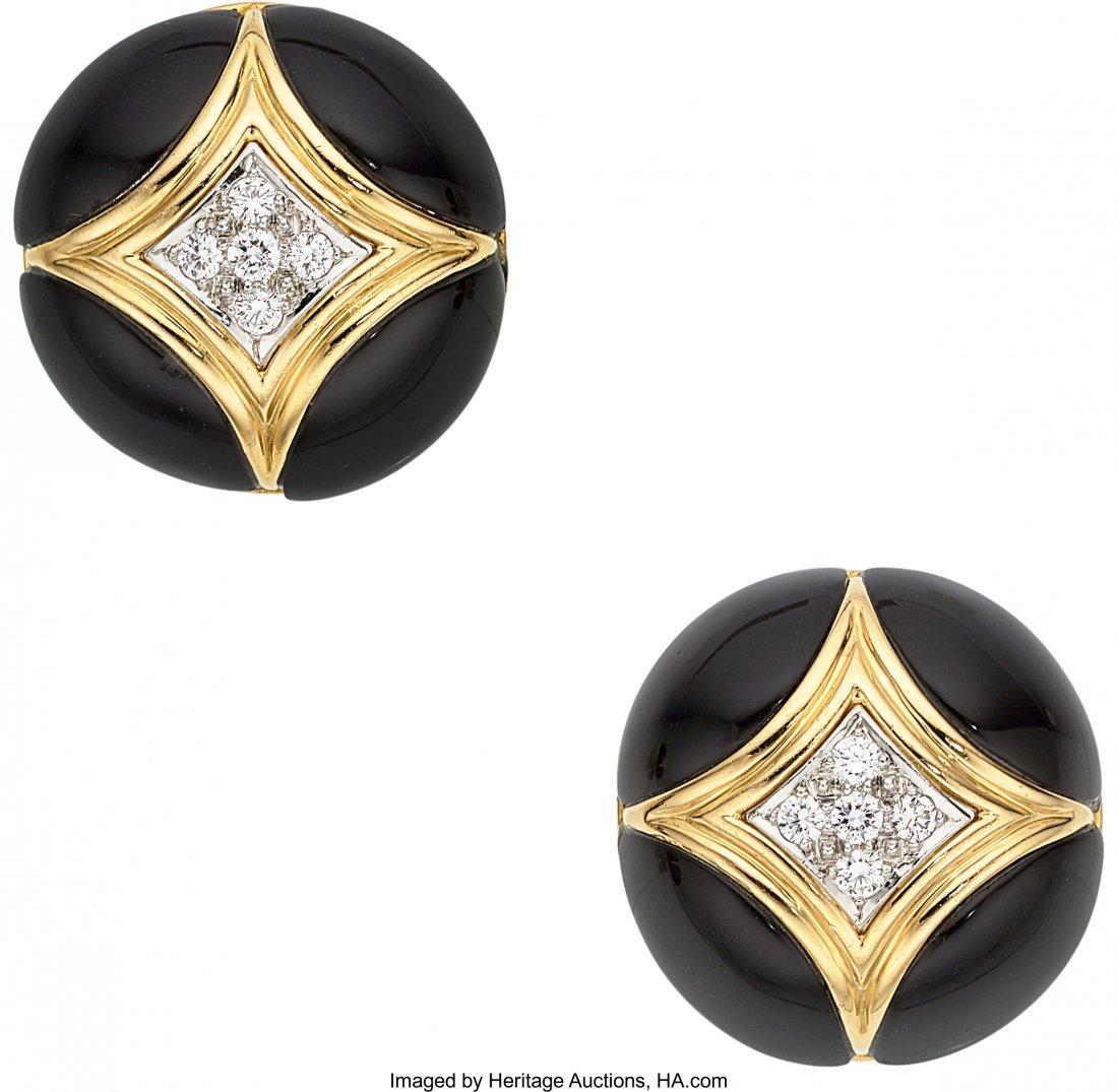 55051: Diamond, Black Onyx, Gold Earrings, Van Cleef &