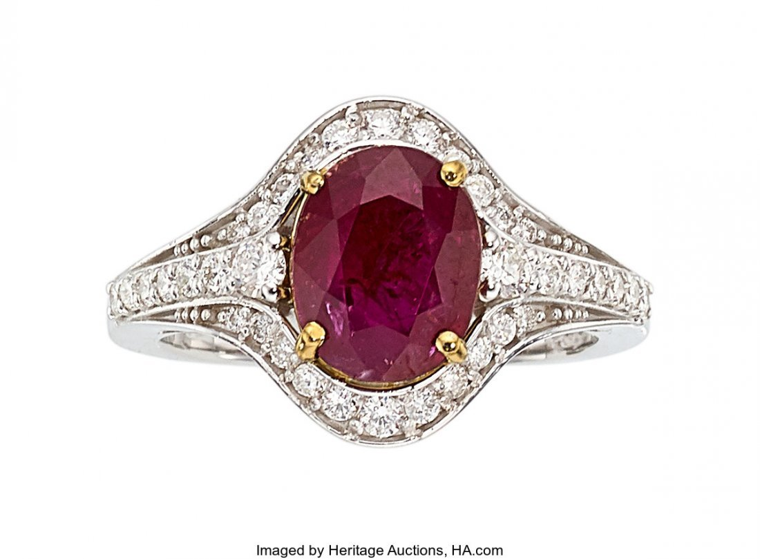 55323: Burma Ruby, Diamond, White Gold Ring  The ring f