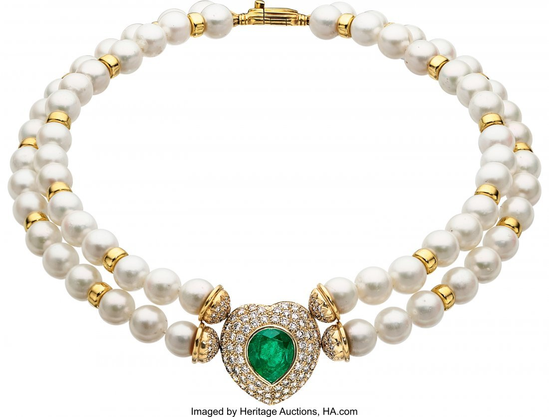 55149: Emerald, Diamond, Cultured Pearl, Gold Necklace